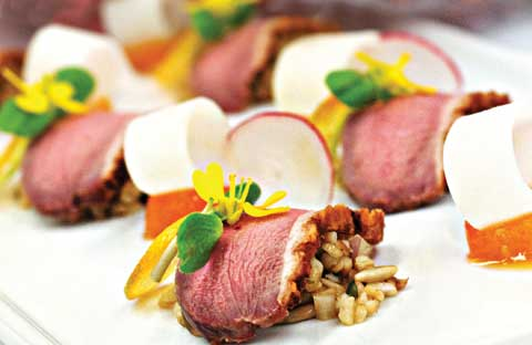 Tea-Smoked Duck Salad with Bulghur Wheat, Stewed Kumquats, Sunflower ...